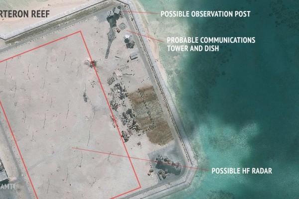 L'île artificielle créée par la Chine sur le recif Cuarteron