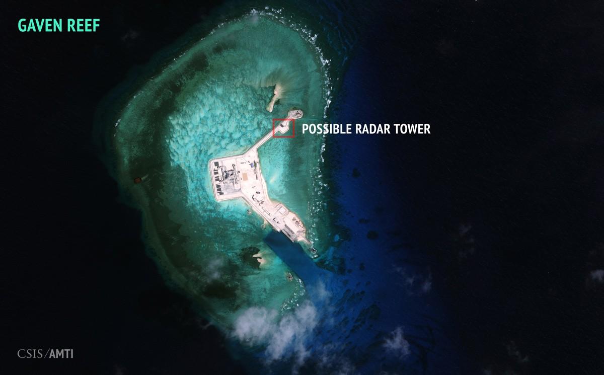 L'île artificielle chinoise créée sur le récif Gaven,
