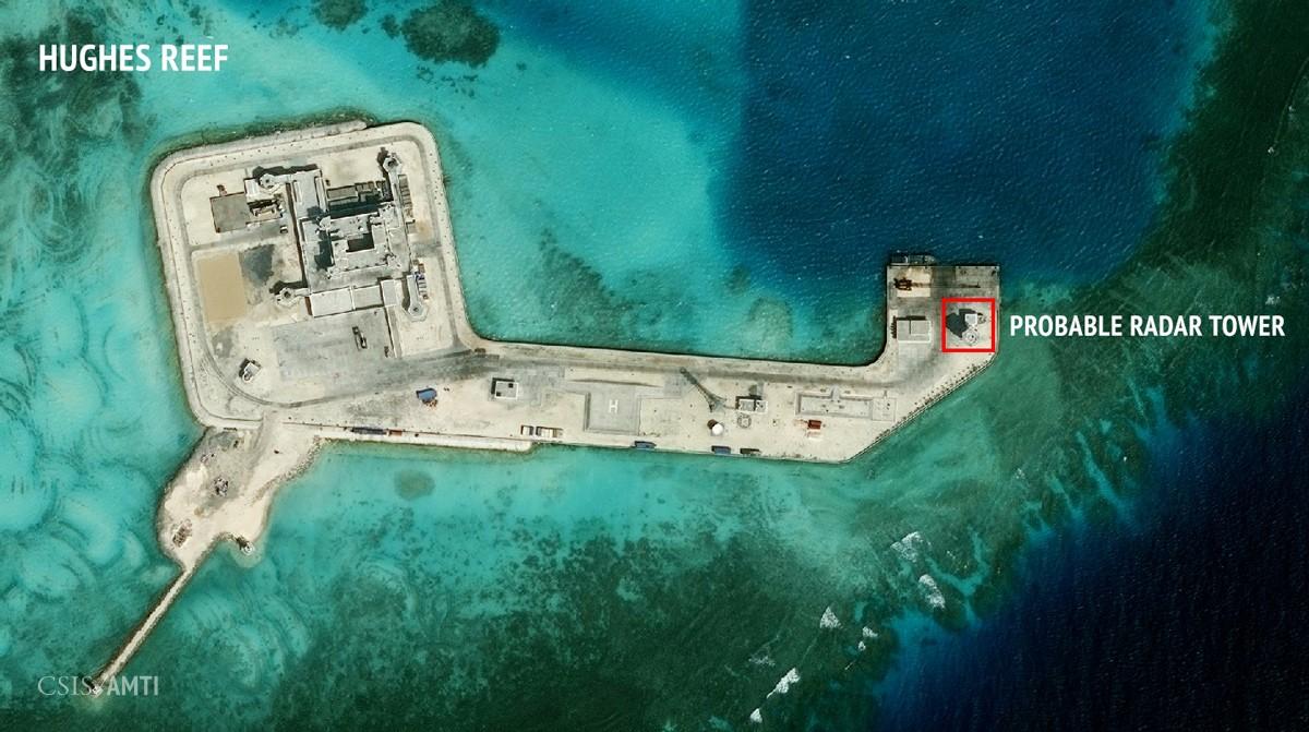 L'île artificielle créée par la Chine sur le récif Hugues