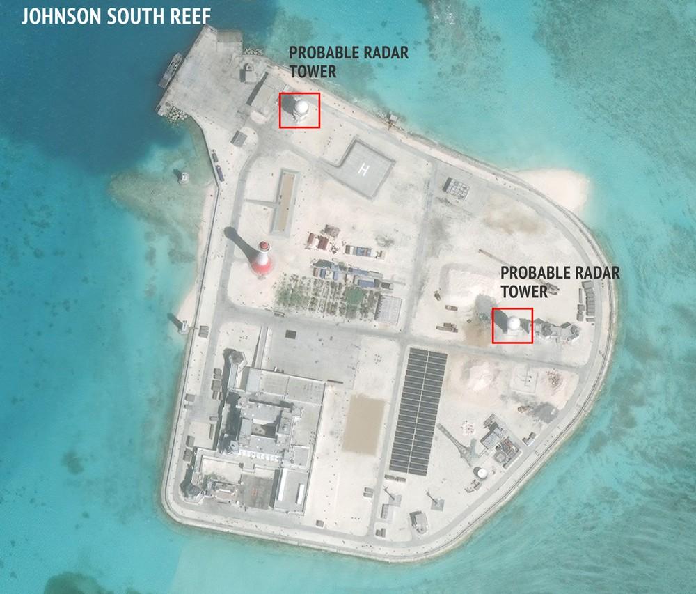 L'île artificielle chinoise créée sur le récif Johnson South