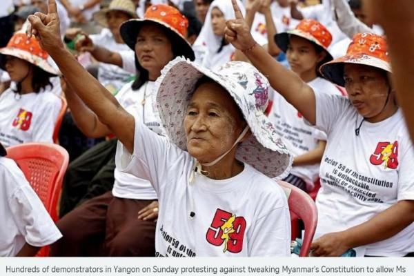 manifestation organisée ce week-end contre la révision de la constitution birmane