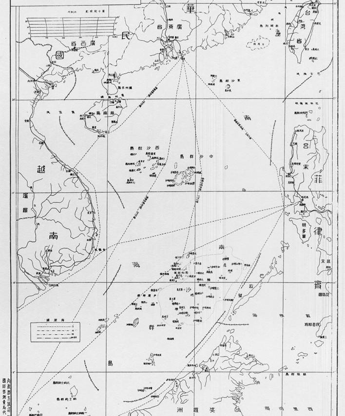 Carte de la mer de Chine du Sud émise en 1947 par le pouvoir nationaliste chinois de Nankin.