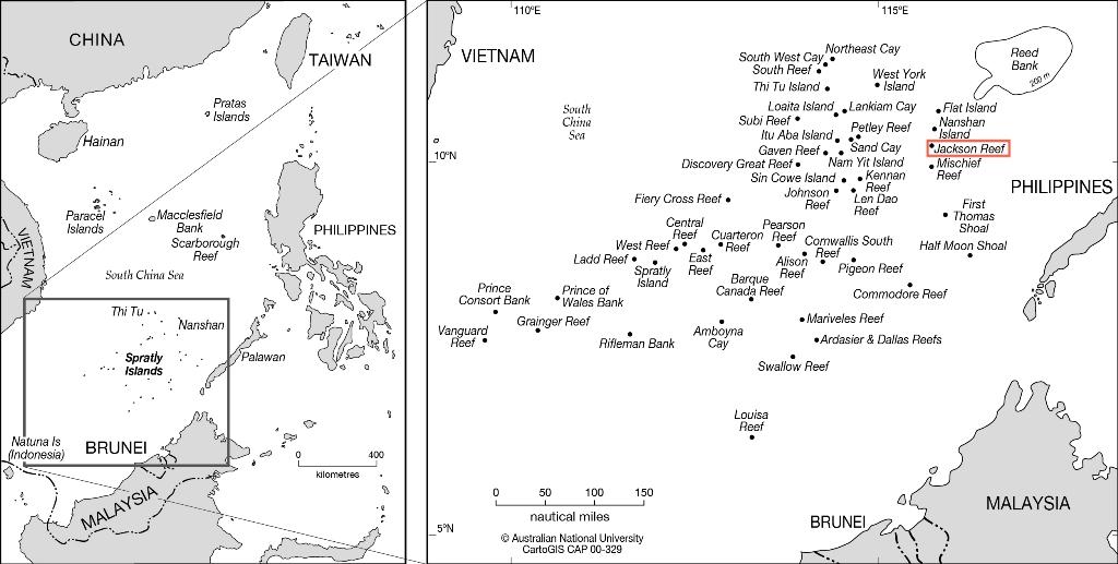 Carte de l'archipel des îles Spratleys, en mer de Chine méridionale