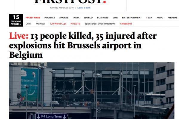 """Les principaux médias asiatiques ont mis en place une couverture """"live"""" des attentats de Bruxelles."""