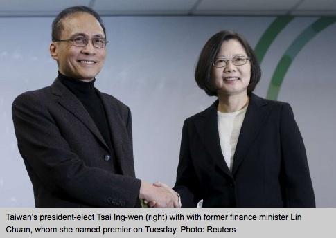Tsai Ing-wen, la présidente nouvellement élue de Taïwan, présente son Premier ministre, ancien ministre des Finances sous l'ancien président DPP Chen Shui-bian.