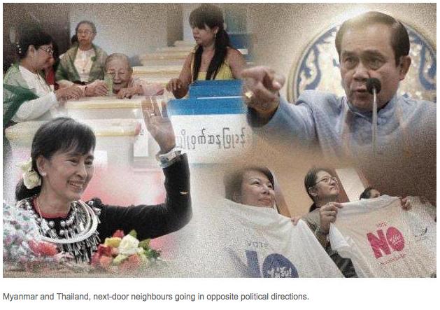 """La Birmanie se réconcilie avec la démocratie quand la Thaïlande connait depuis 2014 un régime militaire. Le politologue Thitinan Pongsudhirak dresse un portrait croisé des deux Etats voisins au prisme de leurs évolutions politiques récentes. Copie d'écran du """"Bangkok Post"""", le 22 avril 2016."""