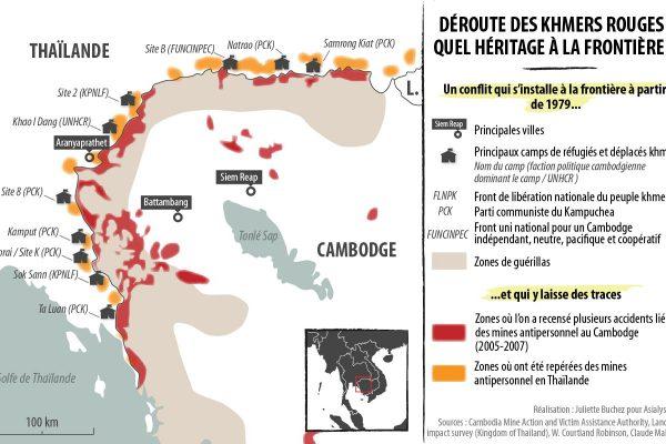 Carte des mines antipersonnel et dans anciens sites de camps de réfugiés à la frontière entre la Thaïlande et le Cambodge après la chute des Khmers rouges.