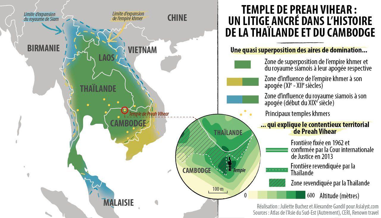 En carte, le litige autour du Temple Preah Vihear, entre le Cambodge et la Thaïlande.