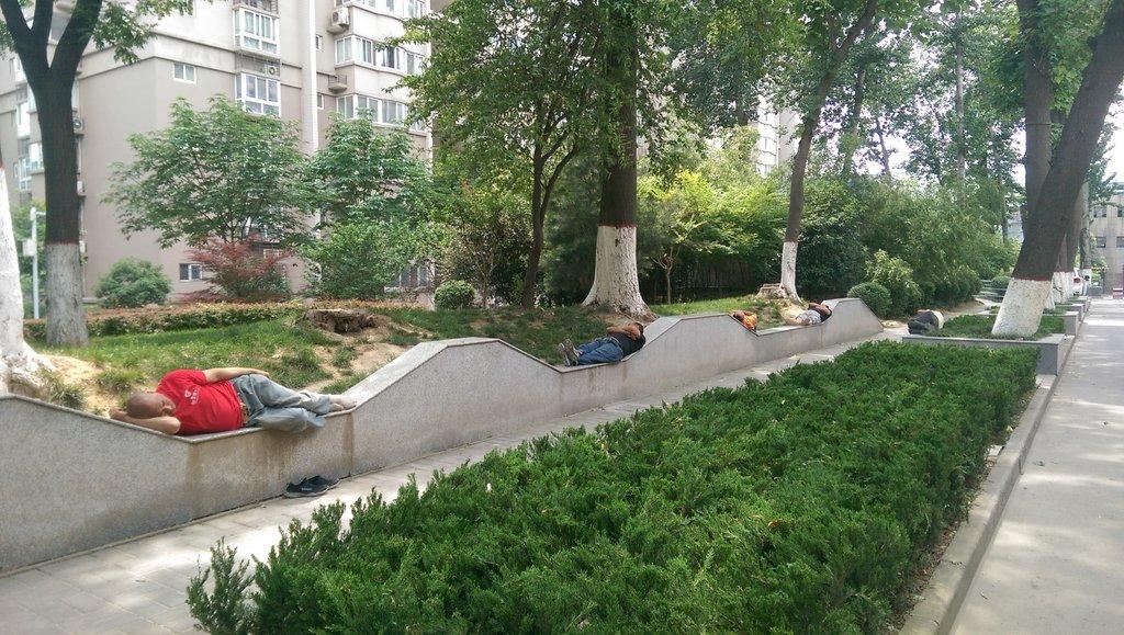 Après le déjeuner, la sieste est pratiquée par la majorité des chinois, parfois même dans des endroits incongrus.