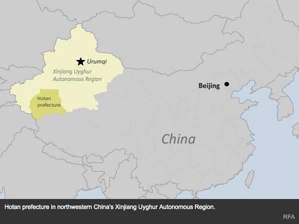"""La province frontalière du Xinjiang, dans l'Ouest de la Chine, met en place un système de primes en liquide pour tout renseignement concernant des """"activités suspicieuses liées à l'extrémisme religieux ou des actes terroristes"""". Copie d'écran de """"Radio Free Asia"""", le 13 avril 2016."""
