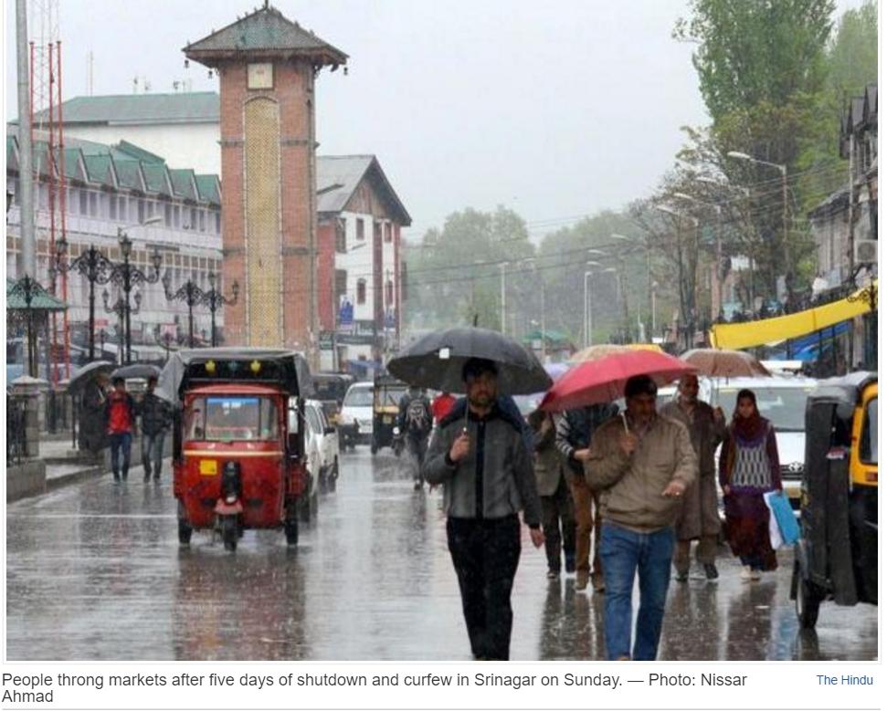 """Après 5 jours de tensions et cinq victimes, les tensions se sont enfin apaisées dans la vallée du Cachemire. Copie d'écran de """"The Hindu"""", le 18 avril 2016."""