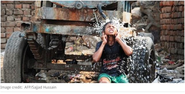 """En Inde, plus de 40 degrés et des dizaines de morts à l'Est du pays. Copie d'écran de """"Scroll.in"""", le 15 avril 2016."""