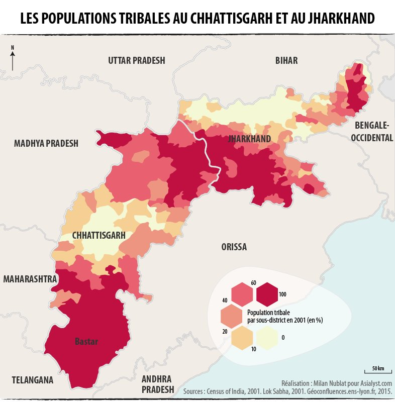 Répartition des populations tribales dans les Etats indiens du Chhattisgarh et du Jharkhand.