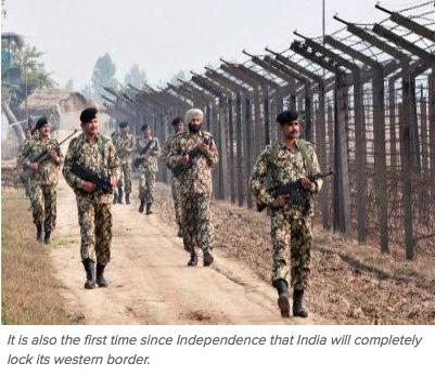 """L'Inde veut """"verrouiller"""" sa frontière avec le Pakistan. Copie d'écran du """"Times Of India"""", le 11 avril 2016."""