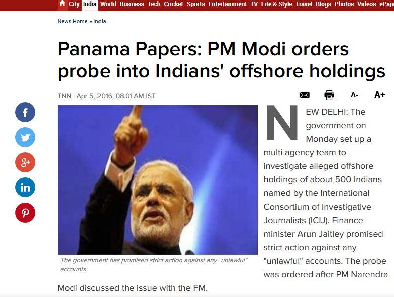 """Le Premier ministre Narenda Modi. Copie d'écran de """"The Times of India"""", le 5 avril 2016."""