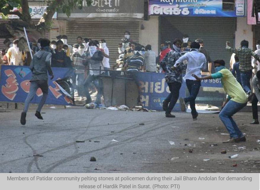 """Les manifestations des Patels au Gujarat ont débordé hier dimanche. Copie d'écran de """"India Today"""", le 18 avril 2016."""