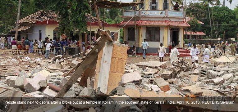"""Inde : au moins 100 morts dans un incendie provoqué par un feu d'artifice mal maîtrisé. Copie d'écran de """"Channel News Asia"""", le 11 avril 2016."""