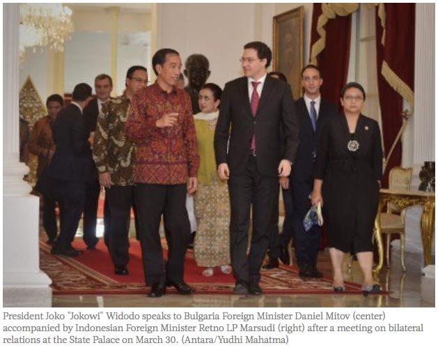 """Premier président indonésien à rencontrer les dirigeants des institutions de l'Union Européenne, Joko Widodo se rendra en Europe du 18 au 22 avril prochain. Le commerce et la coopération des services de renseignement seront au cœur des discussions. Copie d'écran de """"The Jakarta Post"""", le 13 avril 2016."""