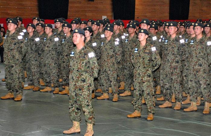 Des membres des forces japonaises d'autodéfense