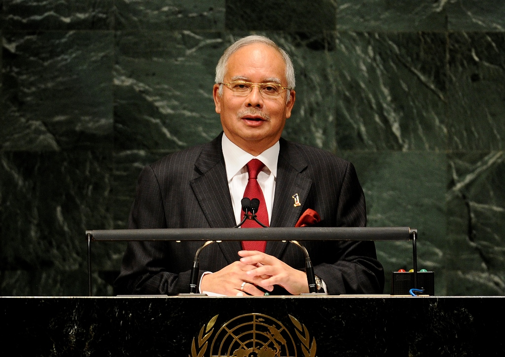 Le Premier ministre malaisien Najib Razak à la tribune lors de l'assemblée générale des Nations Unies à New York le 27 septembre 2010.