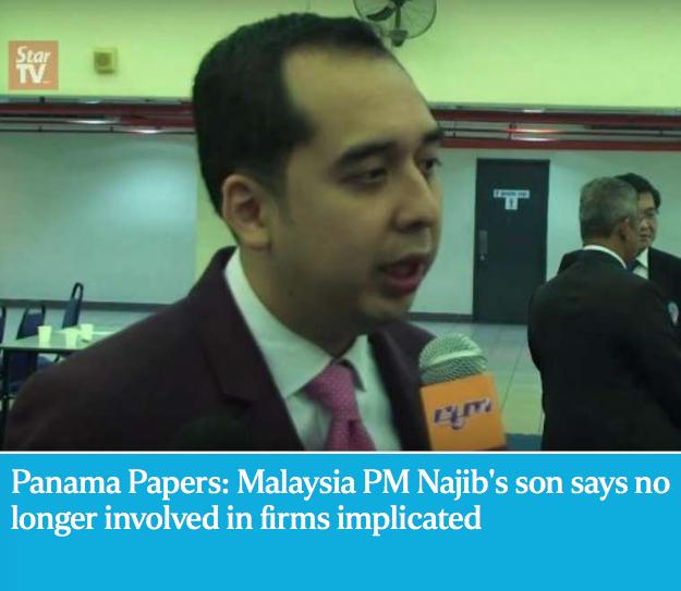 """Le fils du Premier ministre malaisien, dont le nom figure dans les """"Panama Papers"""". Copie d'écran de """"The Straits Times"""", le 6 avril 2016."""