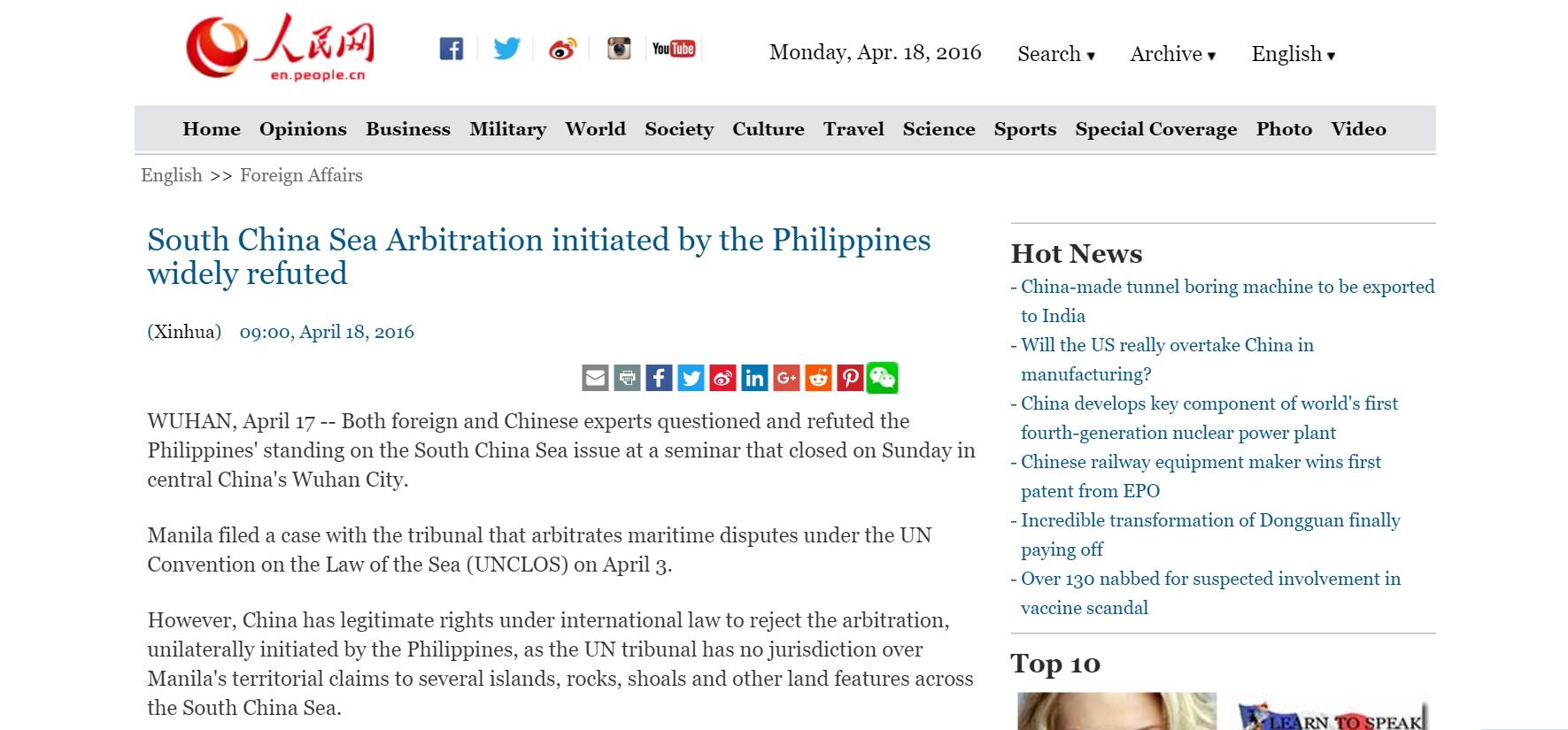 """Pourquoi la Chine refuse-t-elle l'arbitrage du Tribunal de La Haye ? Copie d'écran du """"Quotidien du peuple"""", le 18 avril 2016."""