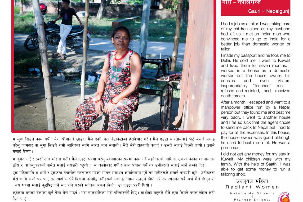 """L'une des bannière de l'exposition """"Radiant Women"""" au Népal : le témoignage de Gauri (Nepalgunj), survivante du trafic d'êtres humains."""