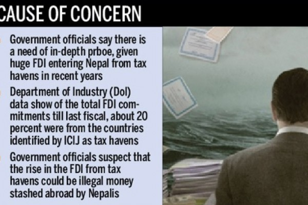 """Aucune personnalité népalaise n'a été directement compromise par le scandale des Panama Papers, mais le gouvernement y voit l'occasion de rappeler ses investisseurs nationaux à la rigueur. Copie d'écran du """"Kathmandu Post"""", le 6 avril 2016."""
