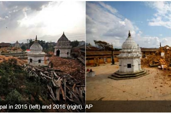 """Au Népal, douze mois se sont écoulés depuis le séisme sans que les travaux de reconstruction n'aient vraiment commencé. Copie d'écran de """"Firstpost"""", le 21 avril 2016."""