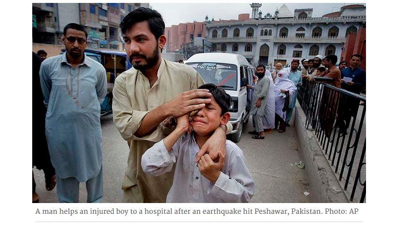 """Pakistan : un séisme fait 5 morts et 55 blessés. Copie d'écran du site """"Dawn"""", le 11 avril 2016."""