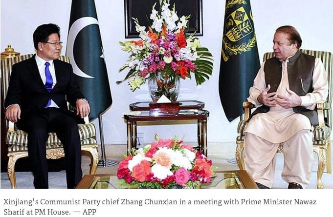 """Ce sont 2 milliards de dollars de contrats industriels qui ont été signés entre le Pakistan et la province chinoise du Xinjiang pour développer le corridor stratégique entre les deux pays, selon le projet de """"nouvelle route de la soie"""" porté par Xi Jinping. Copie d'écran du Dawn, le 8 avril 2016."""