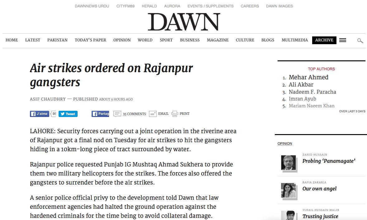 """Afin de déloger les malfrats d'une île du district de Rajanpur au Pendjab, le Pakistan autorise une série de frappes aériennes. Copie d'écran du """"Dawn"""", le 13 avril 2016."""