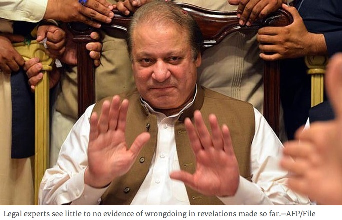 """Le président Sharif. Copie d'écran du """"Dawn"""", le 5 avril 2016."""