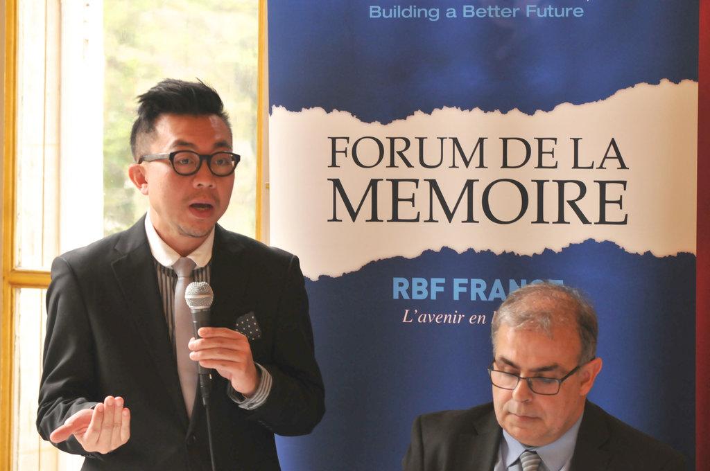 Pavin Chachavalpongpun, chercheur thaïlandais au centre d'études de l'ASEAN de l'Institut des Etudes sur l'Asie du Sud-Est, ici au Forum de la mémoire organisé par RBF-France le mardi avril 2016.