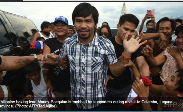 """Manny Paquiao se présente aux élections législatives. Copie d'écran du """"Channel News Asia"""", le 29 avril 2016."""