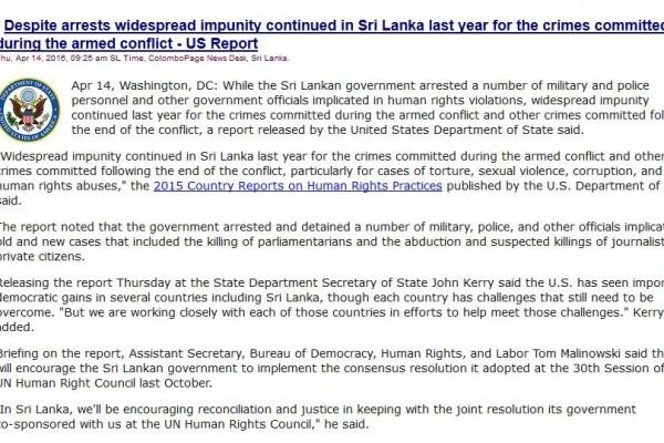 """Un rapport du Département d'Etat américain sur les droits de l'homme mentionne au sujet du Sri Lanka l'absence de justice rendue pour les crimes commis durant les 25 ans du conflit armé. Copie d'écran de """"Colombo Page"""", le 14 avril 2016."""