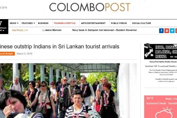 """Grande première pour le Sri Lanka qui, au mois de février, a accueilli plus de touristes chinois que de touristes indiens. Copie d'écran du """"Colombo Post"""", le 12 avril 2016."""