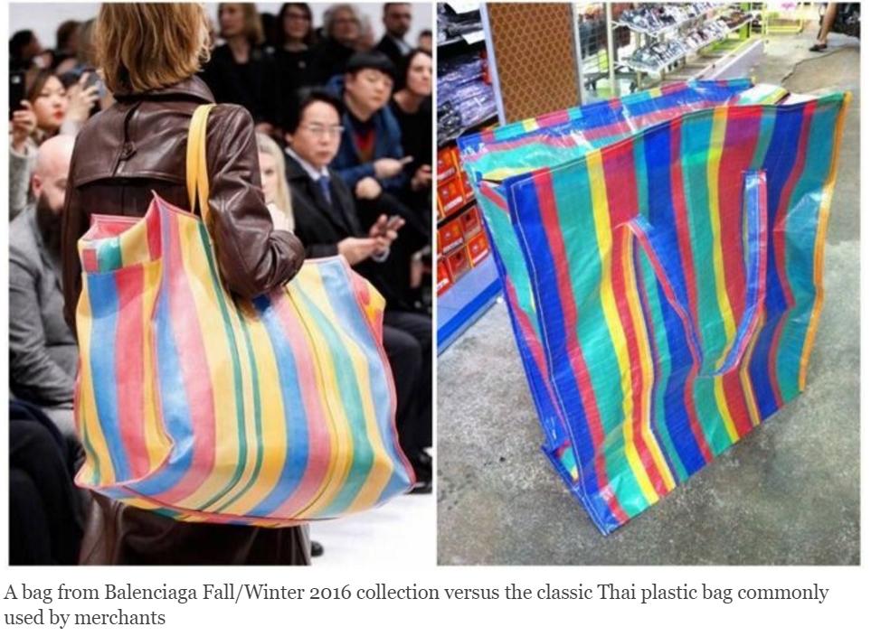 """Toutes les """"fashionistas"""" ont déjà troqué leur sac en papier Louis Vuitton pour ce sac de course thaïlandais. Copie d'écran de Coconuts Bangkok, le 8 mars 2016."""