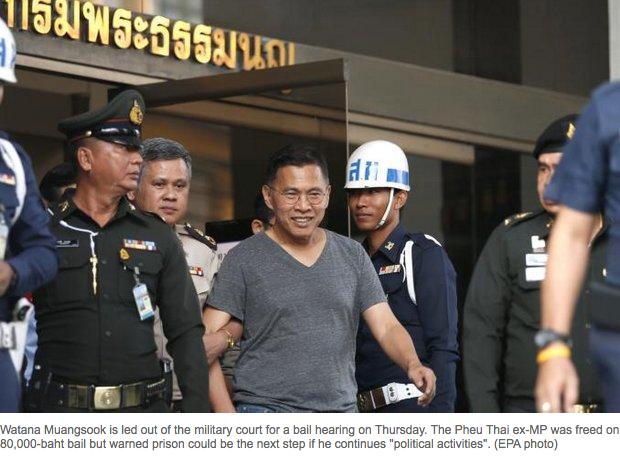 """L'ancien député du Pheu Thai, Watana Muangsook, a été libéré jeudi 21 avril après son arrestation pour avoir continué ses activités politiques en dépit d'un accord signé avec la junte. S'il persiste, prévient le vice-Premier ministre, Watana risque la prison. Copie d'écran du """"Bangkok Post"""", le 22 avril 2016."""