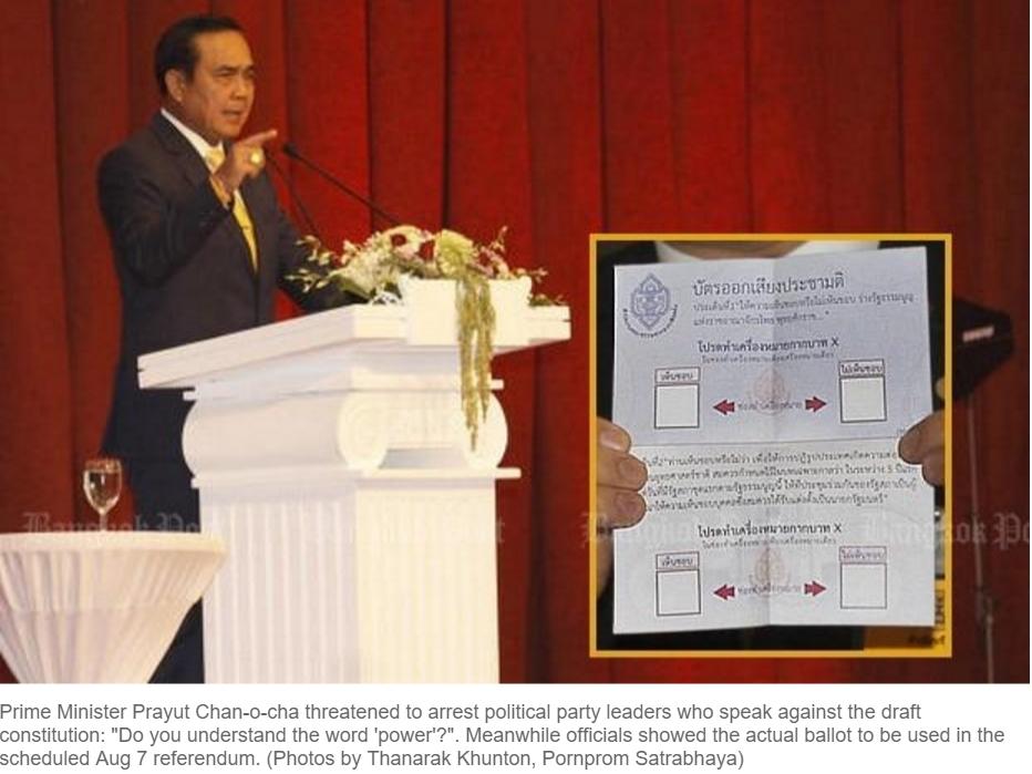 """Menaçant, le général et Premier ministre thaïlandais Prayuth Chan-Ocha est certain que son projet de constitution sera adopté par référendum. Copie d'écran du """"Bangkok Post"""", le 12 avril 2016."""