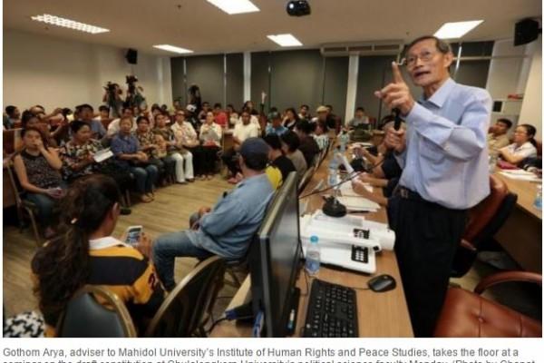 """En Thaïlande, des universitaires, membres de la société civile et politiciens sont réunis pour appeler la junte à respecter la liberté d'expression en vue du référendum sur la nouvelle Constitution prévu le 7 août prochain. Copie d'écran du """"Bangkok Post"""", le 26 avril 2016."""