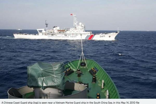 """Le Vietnam saisit un bateau chinois en mer de Chine du Sud. Copie d'écran de """"Straits Times"""", le 4 avril 2016"""