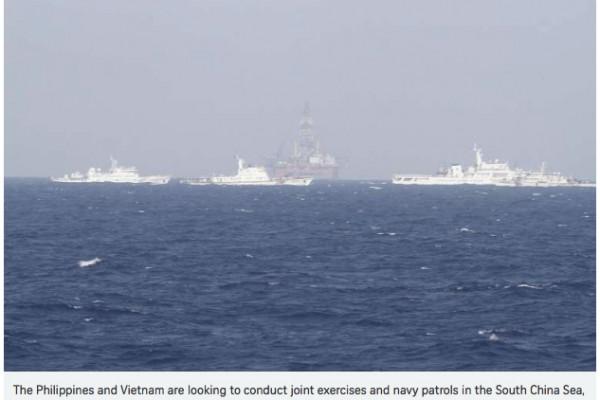 """Des responsables vietnamiens et philippins de la défense doivent se rencontrer dans la semaine pour discuter d'éventuelles patrouilles maritimes et d'exercices conjoints en Mer de Chine du Sud. Copie d'écran de """"The Straits Times"""", le 13 avril 2016."""