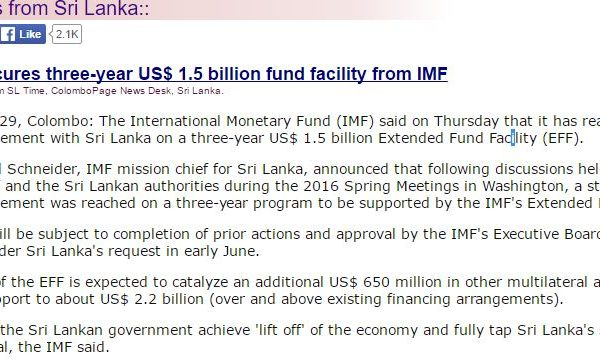 """Le contrat vise à accompagner des réformes économiques ambitieuses. Copie d'écran de """" Colombo Page"""", le 29 avril 2016."""