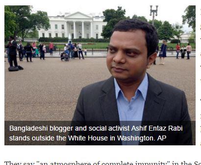 """Ashif Entaz Rabi a reçu plusieurs appels menaçant après avoir présenté une émission sur le meurtre d'un éditeur. Copie d'écran de """"First Post"""", le 4 mai 2016."""