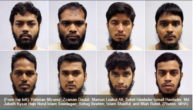 """Les 8 hommes sont membres de l'Etat Islamique du Bangladesh, et constituent le premier groupe entièrement composé d'étrangers à être détenus en vertu de la loi sur la sécurité intérieure (ISA) depuis 1963. Copie d'écran du """"Channel News Asia"""", le 4 mai 2016."""