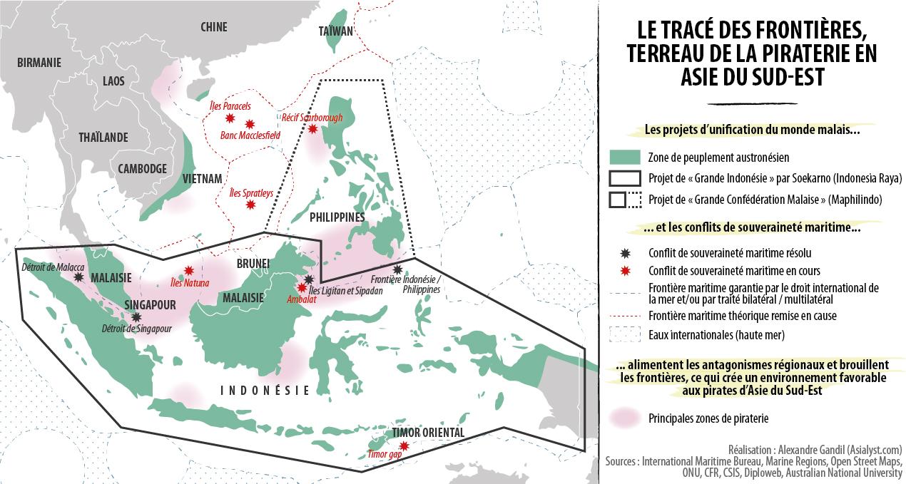 (Infographie) Le tracé des frontières, terreau de la piraterie en Asie du Sud-Est.