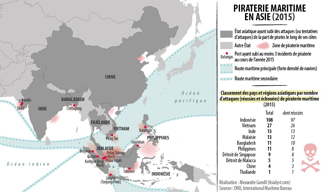 (Infographie) Piraterie maritime en Asie (2015).