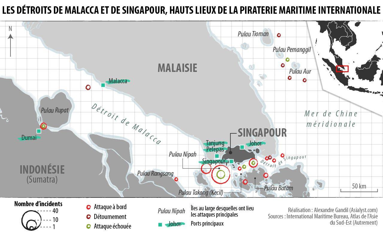 (Infographie) Les détroits de Malacca et de Singapour, hauts lieux de la piraterie maritime internationale.
