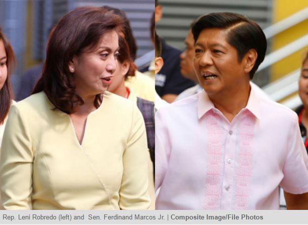 """Dans l'élection du vice-président des Philippines, Bongbong, le fils de l'ancien dictateur Ferdinand Marcos a de grandes chances d'être battu par la défenseuse des droits de l'homme Leni Robredo. Copie d'écran du """"Philippine Star"""", le 10 mai 2016."""
